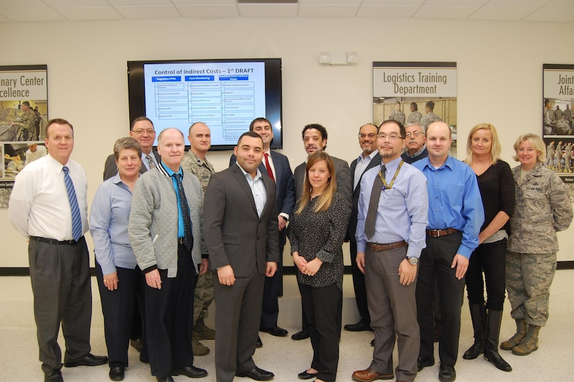Defense Contract Management Agency employees in the Indirect Cost Control working group met for three days in February at Fort Lee, Virginia, to establish baseline goals and start working on a strategic gap analysis. The group shown includes (front row, from left) Nathan Scoggin, Seay Anne Sheley, Ken Wells, Jose Ortiz, Jamie Sahagun, Luke Baey, Tim Wolma, Katie Myers and Air Force Col. Sheri Bennington. Back row: Tony Labath, Air Force Lt. Col. Ryan Colburn, Christopher Tom, Brian Cassar, Sidney Antommarchi and George Bartolini. 