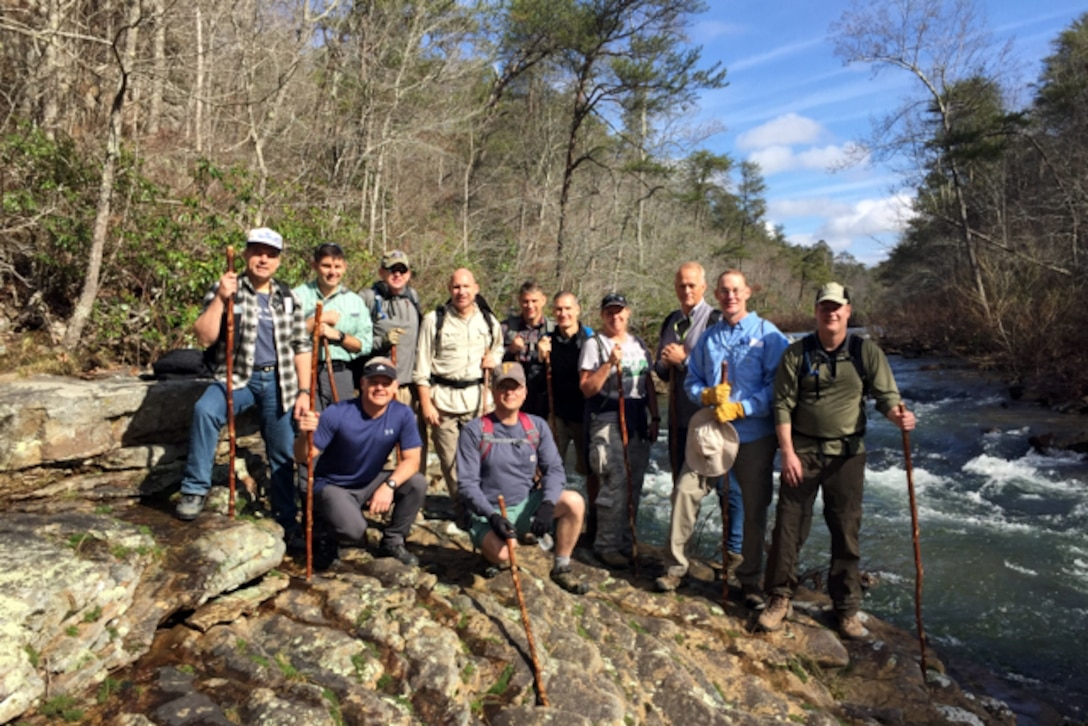 Leaders of the 22nd Air Force gathered for a leadership trek at DeSoto State Park, Alabama Feb. 23-25 hosted by Maj. Gen. John Stokes, 22nd Air Force commander. Unit commanders focused on getting to know one other, improving teamwork, cohesion and developing as leaders. (U.S. Air Force photo)
