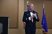 Col. Jeff Van Dootingh, 911th Airlift Wing Commander, speaks at the 911th Airlift Wing Awards Banquet, Coraopolis, Pennsylvania, March 4, 2017.This was Van Dootingh's first drill weekend home from a deployment, and he had nothing but proud words for his Airmen.