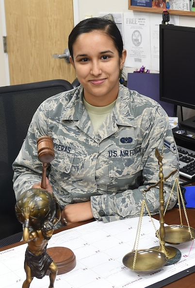 "U.S. Air Force Airman 1st Class Alicia ""Alice"" Contreras, 7th Bomb Wing paralegal, finds pride in her job within the legal office. ""It's definitely a challenge,"" Contreras said. ""There's a lot of work that goes into doing what we do—it's someone's career, life experience or maybe it's a victim of something, so you have to get it right."" (Courtesy photo)"