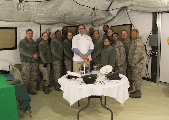 Food service Airmen with the 512th Memorial Affairs Squadron compete for the 2017 John L. Hennessy Award at Dover Air Force Base, Del., March 3, 2017. The Hennessy Award recognizes excellence in foodservices across multiple military branches. (U.S. Air Force photo / Renee M. Jackson)