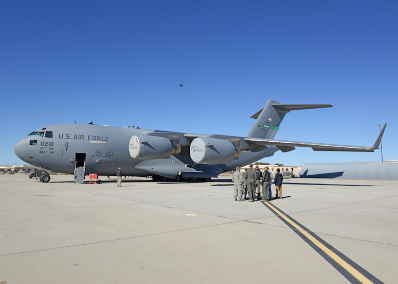 The 412th Test Wing's Emerging Technologies Combined Test Force conducted a test with a quadcopter to see how well it can conduct a maintenance inspection of the exterior of a C-17 Globemaster III March 6. (U.S. Air Force photo by Kenji Thuloweit)