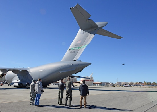 The 412th Test Wing's Emerging Technologies Combined Test Force conducted a test with a quadcopter to see how well it can conduct a maintenance inspection of the exterior of a C-17 Globemaster III March 6. (U.S. Air Force photo/Kenji Thuloweit)