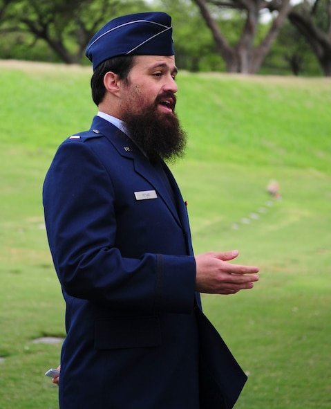 U.S. Air Force 1st Lt. Levy Pekar, Rabbi Chaplain assigned to Nellis Air Force Base, Nev., led the headstone replacement ceremony to honor of Staff Sgt. Jack Weiner, U.S. Army Air Forces, at the National Memorial Cemetery of the Pacific, Honolulu, HI., Feb. 28, 2017. (U.S. Air Force photo by Tech. Sgt. Heather Redman)