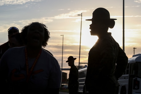 Staff Sergeant Simone King, Senior Drill Instructor, 4th Battalion, Recruit Training Regiment, instructs educators during the Recruiting Station Atlanta/Columbia Educators Workshop aboard Marine Corps Recruit Depot Parris Island, South Carolina, Mar. 8, 2017. The Educators come from both Recruiting Station Atlanta and Columbia to experience the Educators Workshop. The Educators Workshop provides an opportunity to educators to have an inside look at Marine Corps training to better inform the students in their local area. (U.S. Marine Corps photo by Lance Cpl. Jack A. E. Rigsby/Released)