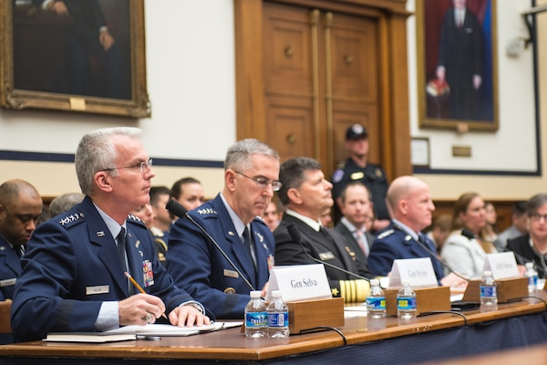 Air Force Gen. Paul J. Selva, vice chairman of the Joint Chiefs of Staff, testifies alongside Air Force Gen. John E. Hyten, commander of U.S. Strategic Command; Navy Adm. Bill Moran, vice chief of naval operations; and Air Force vice chief of staff Gen. Stephen Wilson during a House Armed Services Committee hearing on nuclear deterrence in Washington, March 7, 2017. DoD Photo by  Army Sgt. James K. McCann