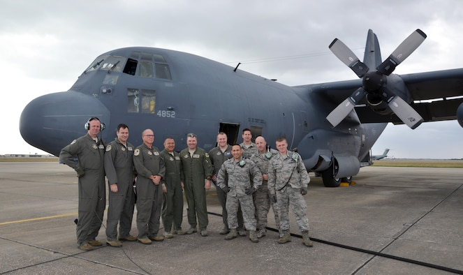 Crew members from the 39th Rescue Squadron and 920th Aircraft Maintenance Squadron pose in front of King 52, the first HC-130 configured for Air Force rescue in 1964, before taking it on its final flight from Patrick Air Force Base, Florida, to Davis-Monthan Air Force Base, Arizona, where it will retire March 6, 2017. (U.S. Air Force photo/Tech. Sgt. Lindsey Maurice)
