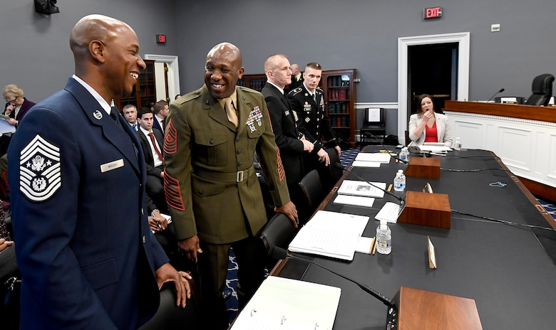 Chief Master Sgt. of the Air Force Kaleth Wright prepares to testify before the House Appropriations Subcommittee on Military Construction and Veterans Affairs in Washington, D.C., March 8, 2017. The CMSAF was joined by his service counterparts for the hearing.  (U.S. Air Force photo/Scott M. Ash)
