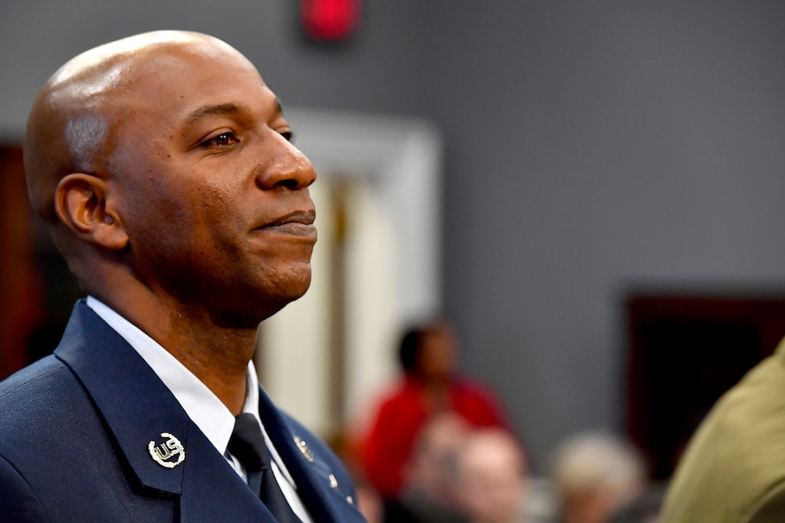 Chief Master Sgt. of the Air Force Kaleth O. Wright prepares to testify before the House Appropriations Subcommittee on Military Construction and Veterans Affairs in Washington, D.C., March 8, 2017.  The CMSAF was joined by his service counterparts for the hearing. (U.S. Air Force photo/Scott M. Ash)