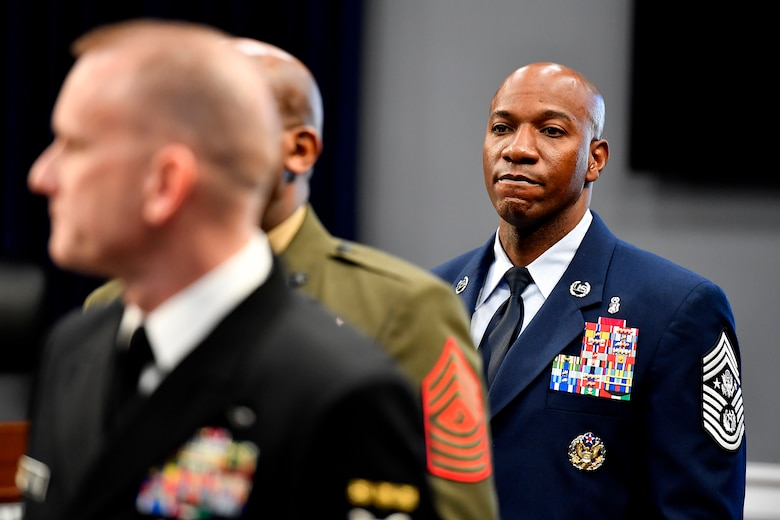 Chief Master Sgt. of the Air Force Kaleth Wright prepares to testify before the House Appropriations Subcommittee on Military Construction and Veterans Affairs in Washington, D.C., March 8, 2017.  The CMSAF was joined by his service counterparts for the hearing.