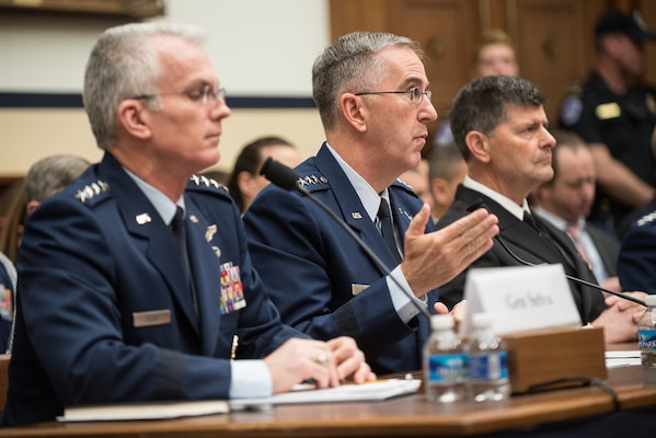 U.S. Air Force Gen. John E. Hyten (center), commander of U.S. Strategic Command (USSTRATCOM); U.S. Air Force Gen. Paul J. Selva (left), vice chairman of the Joint Chiefs of Staff and Adm. Bill Moran (right), vice chief of naval operations, testify before the House Armed Services Committee to provide the military assessment of nuclear weapons requirements at the Rayburn House Office Building, Washington, D.C., March 8, 2017.