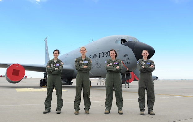 Capt. Rachel Quirarte, 349th Air Refueling Squadron pilot, Maj. Chrystina Jones, 22nd Air Refueling Wing Plans and Programs deputy chief, Lt. Col. Jasmin Silence, 350th Air Refueling Squadron commander, and Staff Sgt. Danielle Warren, boom operator, stand in front of a KC-135 Stratotanker February 23, 2017 at McConnell Air Force Base, Kan.They showcase the career diversity of Team McConnell members. . (U.S. Air Force photo/Senior Airman Tara Fadenrecht)