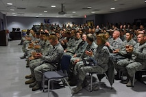 Stewart Air National Guard Base Newburgh, N.Y.(08 Jan 17)—Airmen from the 105th Airlift Wing gathered to show support for approximately 22 newly appointed non-commissioned officers Jan 07, 2017.  This is the third annual ceremony and the Command Chief of the New York Air National Guard, Chief Master Sgt. Amy R. Giaquinto, was in attendance to give some words of wisdom to new staff sergeants.