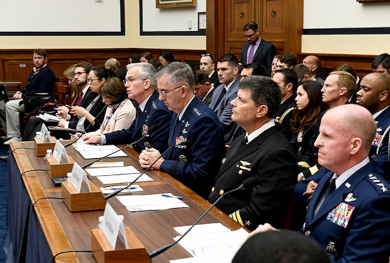 Air Force Vice Chief of Staff Gen. Stephen Wilson, right, testifies before the House Armed Services Committee about nuclear deterrence in Washington, D.C., March 8, 2017.  With Wilson were Vice Chairman, Joint Chiefs of Staff Gen. Paul Selva; U.S. Strategic Command commander, Gen. John Hyten; and Vice Chief of Naval Operations Adm. Bill Moran.  (U.S. Air Force photo/Scott M. Ash)