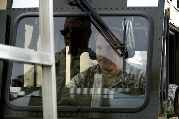 Refresher training at Stewart Air National Guard Base, Newburgh, New York Feb. 8, 2017. Byerwalters, formerly an active duty Soldier, has been operating the loader for the past 13 years and periodically travels to Stewart to brush up. (U.S. Air Force photo by Staff Sgt. Julio A. Olivencia Jr.)