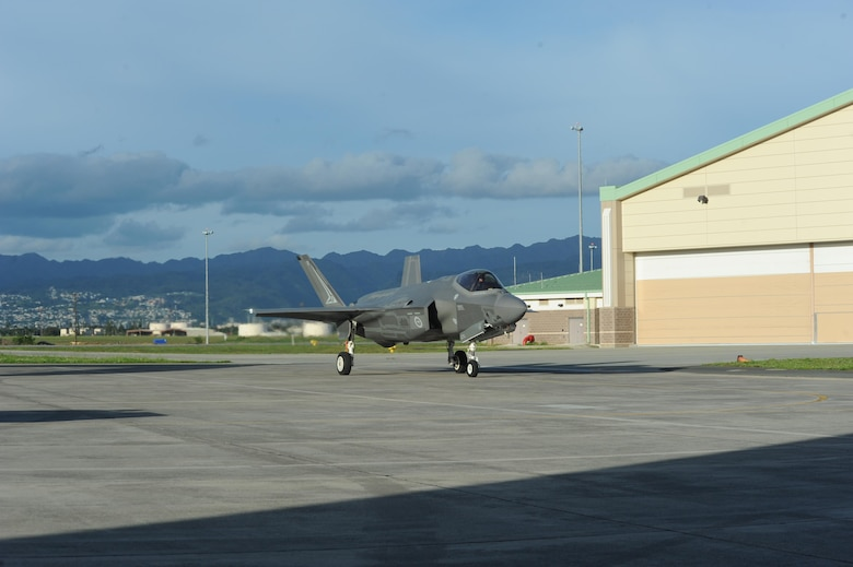 Two Australian F-35A Lightning II Joint Strike Fighters (JSF) arrive to the Hickam ramp at Joint Base Pearl Harbor-Hickam on February 23. Hickam was the last stop before the aircraft would fly at Avalon air show in Victoria, Australia on March 3. The F-35A will provide Australia with a fifth generation aircraft at the forefront of air combat technology, to provide a networked force-miltiplier effect in terms of situational awareness and combat effectiveness. USAF Photo by Capt. Nicole White, 15th Wing Public Affairs