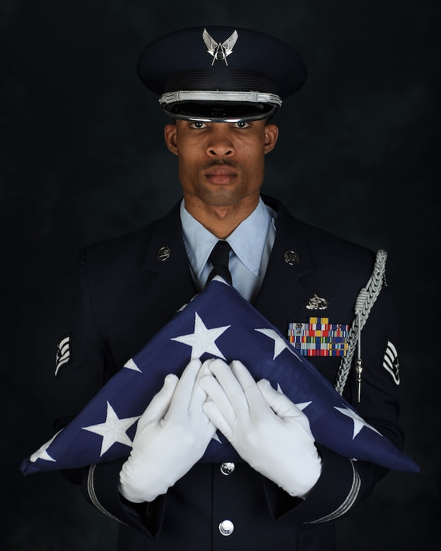 Air Force Staff Sgt. Quinton Gittens, 633rd Force Support Squadron readiness noncommissioned officer in charge, poses for a photo at Joint Base Langley-Eustis, Va., Feb. 27, 2017. Gittens won the 2016 9th Air Force Program Manager of the Year as the Langley Honor Guard manager. Air Force photo by Airman 1st Class Tristan Biese