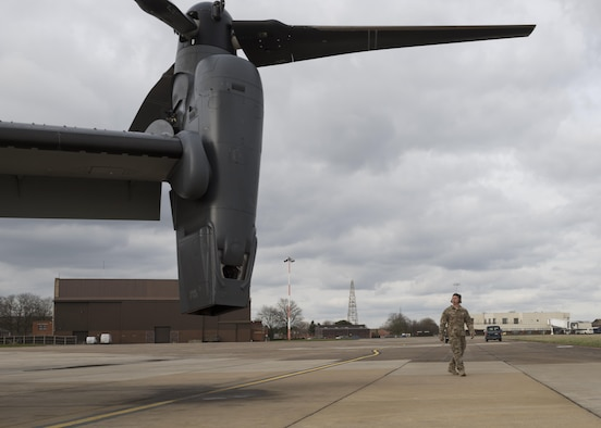 Staff Sgt. Justin O'Brien, 7th Special Operations Squadron special mission aviator, performs a walk around of CV-22 Osprey Mar. 7, 2017, on RAF Mildenhall, England. CV-22 SMAs perform a diverse set of duties which vary depending on which of the two crew positions they are assigned for on a mission. (U.S. Air Force photo/Capt Chris Sullivan)