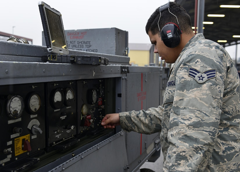 Senior Airman David Castillo-Collazo, 31st Maintenance Squadron Aerospace Ground Equipment journeyman, starts on a generator to perform a system check on equipment, Jan. 31, 2017, at Aviano Air Base, Italy. Instructors from the 372nd Training Squadron Detachment 24 teach Airmen advanced maintenance practices for real-life situations. (U.S. Air Force photo by Senior Airman Cary Smith)