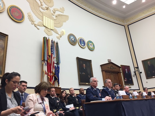 "U.S. Air Force Gen. Paul J. Selva (seated left at table), vice chairman of the Joint Chiefs of Staff; U.S. Air Force Gen. John E. Hyten (seated second to left at table), commander of U.S. Strategic Command (USSTRATCOM); U.S. Navy Adm. Bill Moran (seated third to left at table), vice chief of Naval Operations and U.S. Air Force Gen. Stephen W. ""Seve"" Wilson (seated fourth to left at table), vice chief of staff of the U.S. Air Force, testify before the House Armed Services Committee at the Rayburn House Office Building, Washington, D.C., March 8, 2017.  The admiral and generals provided a military assessment of nuclear weapons requirements to the committee.