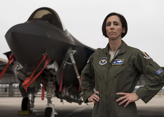 U.S. Air Force Lt. Col. Christine Mau, 33rd Operations Group deputy commander, stands in front of an F-35A Lightning II Feb. 27, 2017, at Eglin Air Force Base, Florida. In 2013, Mau became the first and only female F-35 pilot in the world after flying the F-15E Strike Eagle for 16 years. She uses her unique position to embolden and motivate young men and women into the field of aviation. (U.S. Air Force photo by Staff Sgt. Peter Thompson)