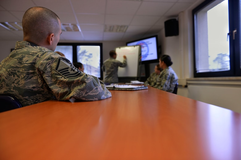 Recently promoted Master Sergeants participate in a group discussion during a professional enhancement seminar on Ramstein Air Base, Germany. According to Air Force Instruction 36-2618, Master Sergeants transition from being first-line supervisors to leaders of operational competence. (U.S. Air Force photo by Airman 1st Class Joshua Magbanua)