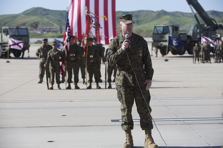 Sgt. Maj. Michael Pritchard, the outgoing sergeant major of Marine Aircraft Group (MAG) 39, addresses guests during his relief and appointment ceremony at Marine Corps Air Station Camp Pendleton, Calif., March 6. Pritchard is slated to take on the role of the 1st Marine Aircraft Wing sergeant major in Okinawa, Japan. He relinquished the post of MAG-39 sergeant major to Sgt Maj. Chad Butts, the previous sergeant major of Marine Wing Headquarters Squadron (MWHS) 3. (U.S. Marine Corps photo by Lance Cpl. Nadia Stark/Released)