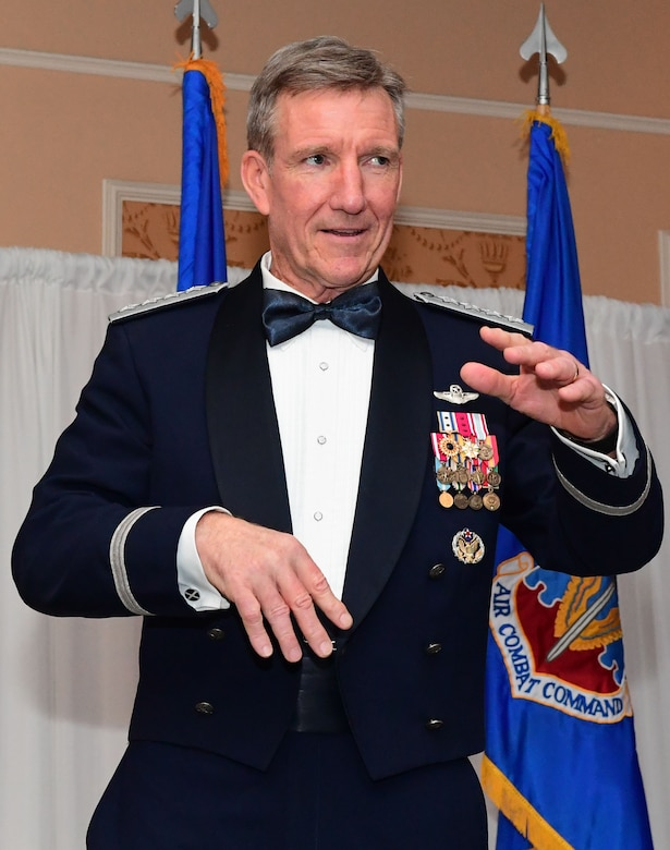 Gen. Hawk Carlisle gives a speech during the 2017 Outstanding Airmen of the Year banquet at the Bayview Community Center in Langley AFB, Virginia, March 8, 2017. The 12 Outstanding Airmen earn the Outstanding Airman ribbon with the bronze service star device and wear the Outstanding Airman badge for one year. They also serve on the Air Force Enlisted Council for one year. (U.S. Air Force photo by Staff Sgt. Nick Wilson)