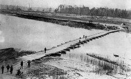One of the pontoon bridges Gen. Ulysses Grant ordered built across the Big Black River immediately after Maj. Samuel Lockett, the Confederate chief engineer, burned the railroad bridge to allow the a retreat to Vicksburg without Union pursuit.