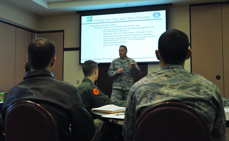 Chaplain (Maj.) Christopher Conklin, 9th Reconnaissance Wing chaplain, gives the Chapel Corps' portion of the READI brief at Beale Air Force Base, California, March 1, 2017. The READI brief features briefers from 11 different units on base. (U.S. Air Force photo/Airman Tristan D. Viglianco)
