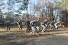 Soldiers from Army Reserve Medical Command and 3rd Medical Command (Deployment Support) compete at the mystery event on Mar. 4 as part of the command-level 2017 Best Warrior Competition held 1-5 March at the intellectual center of the maneuver force – Fort Benning, Georgia. The Best Warrior Competition recognizes Soldiers who demonstrate commitment to the Army values, embody the Warrior Ethos and represent the force of the future.  Photo taken by Maj. Simon Flake, U.S. Army Reserve