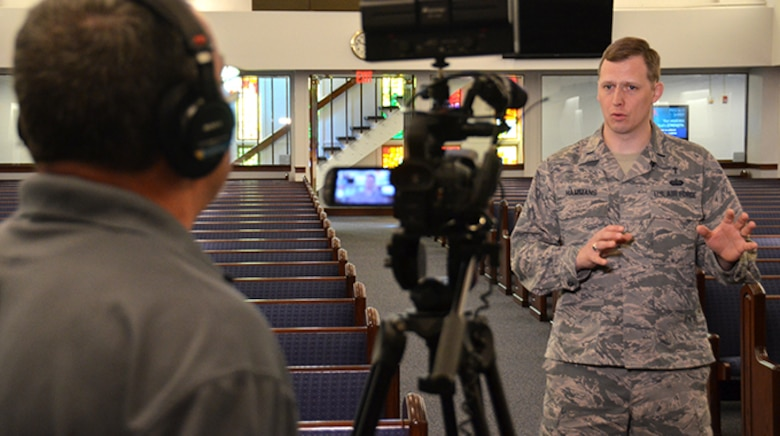 Chaplain (1st Lt.) Joshua Hammans, 78th Air Base Wing chaplain, speaks about resiliency and spirituality during the video session for a brand-new product focusing on resiliency.  The short video clips will be posted on the Robins Air Force Base Facebook page every other Wednesday beginning March 15. (U.S. Air Force photo/Tech. Sgt. Kelly Goonan)