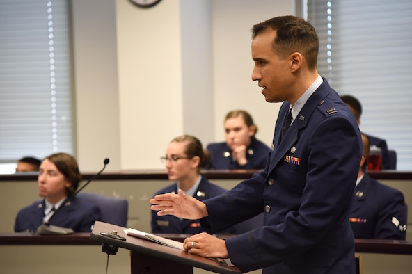 "Capt. Victor Regal, Air Force Legal Operations Agency area defense counsel, questions the ""accused"" during a mock sexual assault trial held by the 81st Training Wing Legal Office at the Sablich Center March 3, 2017, on Keesler Air Force Base, Miss. The more than 30 Airmen, who served as jurors during the mock trial, were able to learn about military justice system. (U.S. Air Force photo by Kemberly Groue)"
