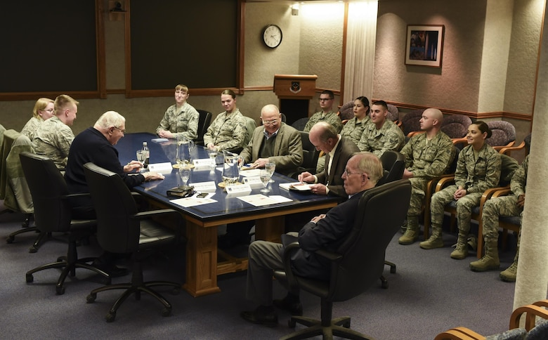 Members of the Independent Strategic Assessment Group talk to Airmen during their visit to F.E. Warren Air Force Base, Wyo., March 6, 2017. The discussion covered several topics from quality of life issues to improving systems and processes. This was the first missile wing visit on the ISAG's agenda as it initiates a strategic-level assessment and review of Air Force Global Strike Command operations. (U.S. Air Force photo by Terry Higgins)