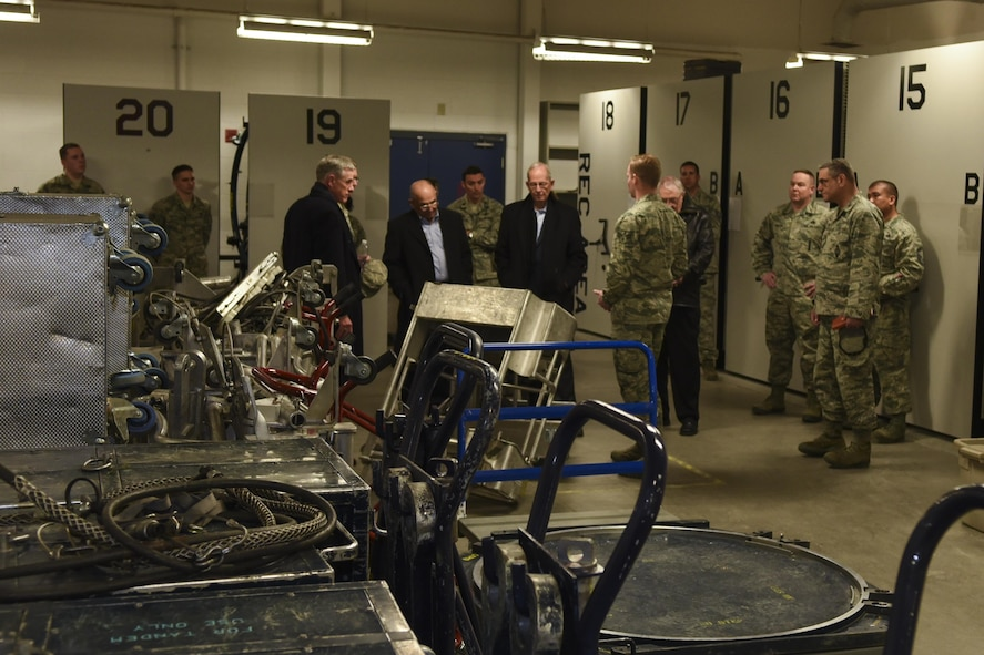 The Independent Strategic Assessment Group team, which consisted of several retired Air Force senior leaders, tours a 90th Maintenance Squadron facility during their visit to F.E. Warren Air Force Base, Wyo., March 7, 2017. ISAG team discussions with Airmen focused on how previous changes have impacted their daily duties, how to improve broken processes and ways to better the quality of life for members and their families. This was the first missile wing visit on the ISAG's agenda as it initiates a strategic-level assessment and review of Air Force Global Strike Command operations. (U.S. Air Force photo by Terry Higgins)