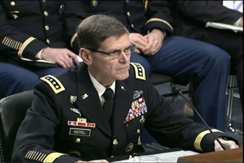 Army Gen. Joseph L. Votel, commander of U.S. Central Command, testifies at a Senate Armed Services Committee hearing, March 9, 2017. Screen shot via Defense.gov
