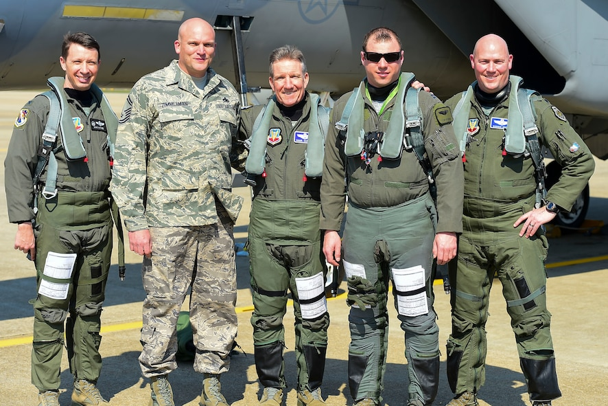 "U.S. Air Force Gen. Herbert ""Hawk"" Carlisle, commander of Air Combat Command, poses with fellow pilots and his former crew chief, before his final flight at Joint Base Langley-Eustis, Va., March 10, 2017. Carlisle's fini-flight culminated his more than 39 years of service to the U.S. Air Force and his country. (U.S. Air Force photo/Airman 1st Class Derek Seifert)"