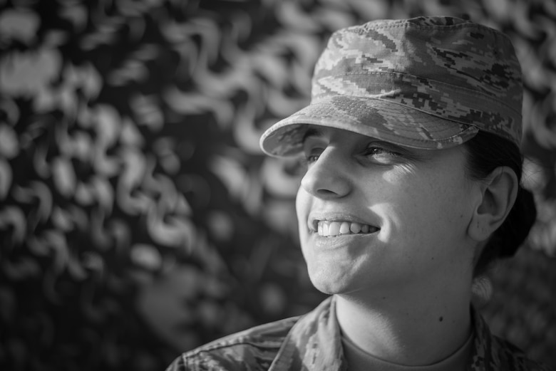 Airman 1st Class Dijana Jakimoska, 407th Expeditionary Force Support Squadron, poses for a photo at the 407th Air Expeditionary Group, Dec. 9, 2017. Jakimoska moved to the U.S. from Ohrid, Macedonia, when she was 21 years old. 