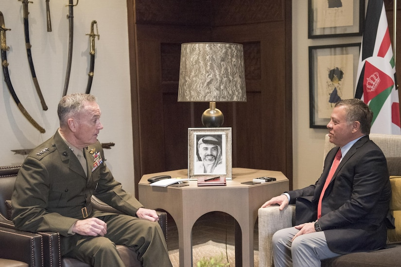 Marine Corps Gen. Joe Dunford, chairman of the Joint Chiefs of Staff, meets with King Abdullah II at his palace in in Amman, Jordan, March 9, 2017. DoD photo by Navy Petty Officer 2nd Class Dominique A. Pineiro