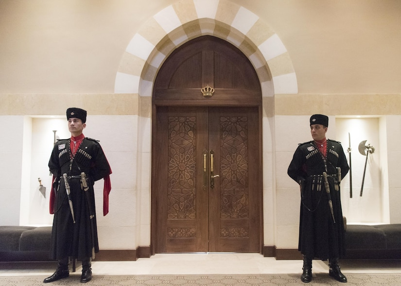 Royal guards stand watch over a meeting between Marine Corps Gen. Joe Dunford, chairman of the Joint Chiefs of Staff, and Jordan's King Abdullah II at his palace in Amman, Jordan, March 9, 2017. DoD photo by Navy Petty Officer 2nd Class Dominique A. Pineiro