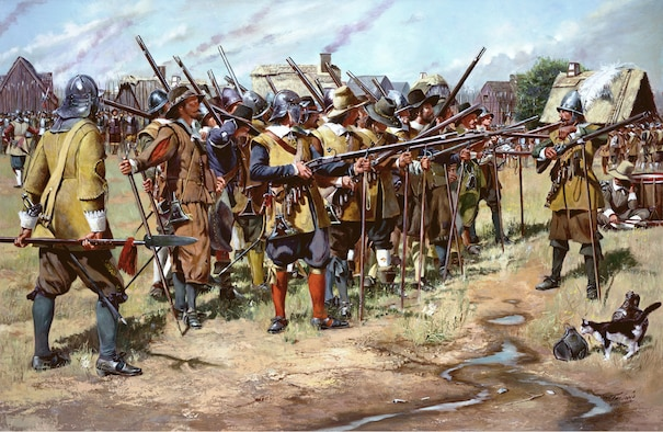 The history of the National Guard began on December 13, 1636, when the General Court of the Massachusetts Bay Colony ordered the organization of the colony's militia companies into three regiments: the North, South and East Regiments.  The colonists had adopted the English militia system which obligated all males, between the ages of 16 and 60, to possess arms and participate in the defense of the community.  The early colonial militia drilled once a week and provided guard details each evening to sound the alarm in case of attack.  The growing threat of the Pequot Indians to the Massachusetts Bay Colony required that the militia be in a high state of readiness.  The organization of the North, South and East Regiments increased the efficiency and responsiveness of the militia.  Although the exact date is not known, the first muster of the East Regiment took place in Salem, Massachusetts.  The National Guard continues its historic mission of providing units for the first-line defense of the nation.  The 101st Engineer Battalion, Massachusetts Army National Guard, continues the East Regiment's proud heritage of 350 years of service. (First Muster, a National Guard Heritage Painting by Don Troiani, courtesy the National Guard Bureau.)