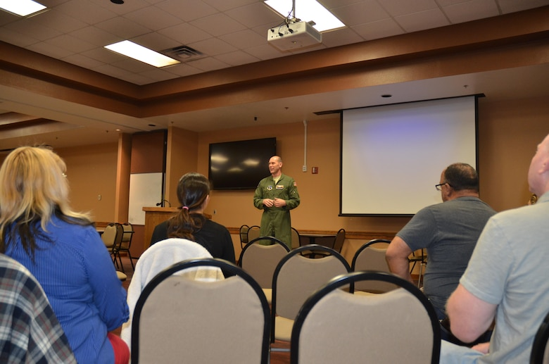 Col. Troy Daniels, 161st Air Refueling Wing commander, addresses Applied Suicide Intervention Training participants, during a training session, March 9. (U.S. Air National Guard photo by 2nd Lt. Tinashe Machona).