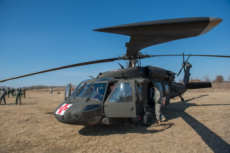 Members of the 934th Aeromedical Evacuation Squadron, 7405th Troop Medical Clinic, and 7212th Medical Support Unit familiarize themselves with a UH-60 Blackhawk helicopter during a joint service medical evacuation training on March 4th, 2017 at Arden Hills Army Training Site. (U.S. Air Force photo by Senior Airman Samuel Wacha)