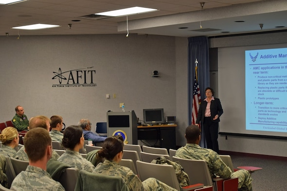 AFIT hosted Dr. Donna Cowell Senft, a Senior Leader Executive and Chief Scientist for Air Mobility Command (AMC) at Scott Air Force Base on 3 February 2017.    She serves as the AMC commander's scientific adviser, providing authoritative scientific counsel, technical advice, and guidance throughout the command on AMC core area technical programs. Dr. Senft also advises on the status of scientific and technical (S& T) quality of AMC, AF and DOD programs and solutions to AMC mission area needs engages subject area experts and conducts efforts leading to the technological enhancement of AMC capabilities.