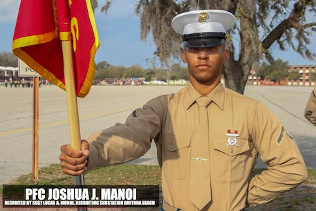 Manoi graduated Marine Corps recruit training Mar. 10, 2017, aboard Marine Corps Recruit Depot Parris Island, South Carolina. Powery is the Honor Graduate of platoon 2016. Manoi was recruited by Staff Sgt. Lucas A. Moore from Recruiting Substation Daytona Beach. (U.S. Marine Corps photo by Lance Cpl. Jack A. E. Rigsby/Released)
