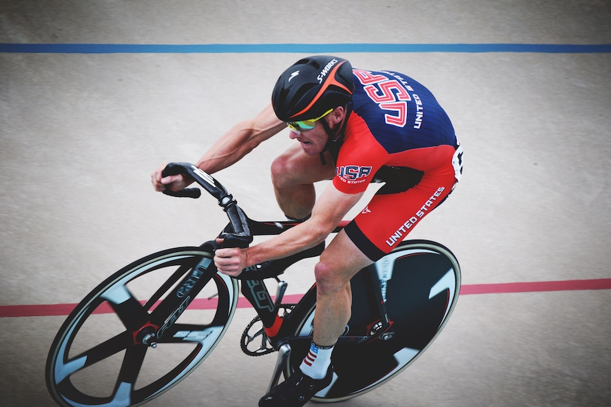 Maj. Ian Holt, 614th Air and Space Operations Center mission director, competes in a cycling event, July 5, 2015, Colorado Springs, Colorado. After carefully reviewing submissions from athletic Airmen across Vandenberg, the 30th Force Support Squadron fitness center staff announced Holt, and 1st Lt. Aly Gleason, 2nd Range Operations Squadron range control officer instructor, as the male and female athletes of the year respectively, in mid-January. (Courtesy photo by Julie Holt/Released)