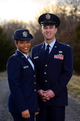U.S. Air Force Capt. Renee Cassidy, the 509th Maintenance Operations officer in charge, and her husband, Capt. Justin Cassidy, the 13th Aircraft Maintenance Unit officer in charge, pose for a photo in Knob Noster, Mo., Feb. 27, 2017. The Cassidys began long-distance dating in 2012 and were officially married in May 2013. Joint-spouse orders reunited the couple at Whiteman Air Force Base in 2014. (U.S. Air Force photo by Airman 1st Class Jazmin Smith)
