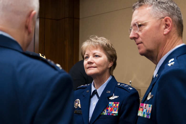 Lt. Gen. Maryanne Miller, the chief of Air Force Reserve and commander, Air Force Reserve Command, discusses her top priorities for the Air Force Reserve during the House National Guard and Reserve Caucus breakfast on Capitol Hill, March 8.  The event featured service chiefs from the Reserve and Guard components and members of Congress. The NGRCC advocates legislative and policy initiatives for National Guard and Reserve. (U.S. Air Force photo/Tech. Sgt. Kat Justen)
