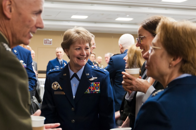 Lt. Gen. Maryanne Miller, the chief of Air Force Reserve and commander, Air Force Reserve Command, discusses her top priorities for the Air Force Reserve during the House National Guard and Reserve Caucus breakfast on Capitol Hill, March 8.  The event featured service chiefs from the Reserve and Guard components and members of Congress. The NGRCC advocates