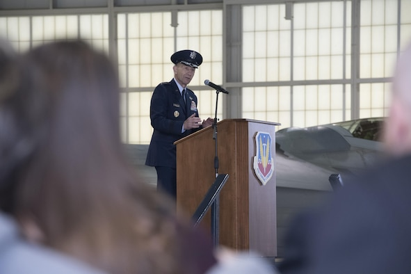 "Gen. James M. Holmes, commander, Air Combat Command, speaks during ACC's Change of Command ceremony at Joint Base Langley-Eustis, Va., March 10, 2017. Holmes assumed command from Gen. Herbert ""Hawk"" Carlisle, who retired after 39 years of service to the Air Force. (U.S. Air Force photo by Staff Sgt. Nick Wilson)"